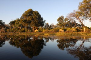 Trans Okavango boating expedition camp set up