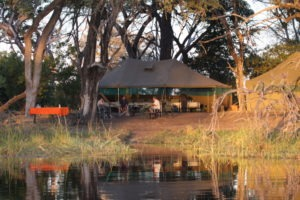 Trans Okavango boating expedition dinig tent
