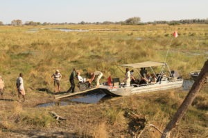 Trans Okavango boating expedition stop along river