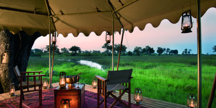 duba expedition camp botswana guest tent view