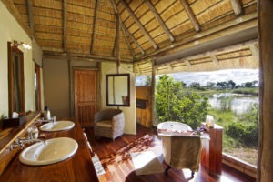 kwando lagoon camp bathroom view