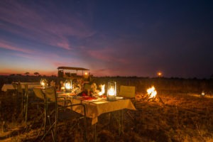 kwando lagoon camp dinner