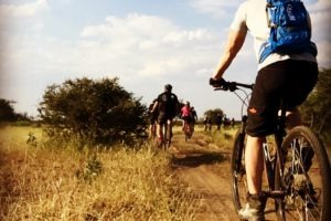 northern tuli botswana cycling safari team riding along track