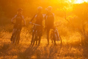 northern tuli botswana cycling safari team sunset photo