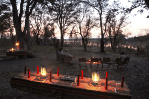 selinda spillway botswana campfire dinner with view