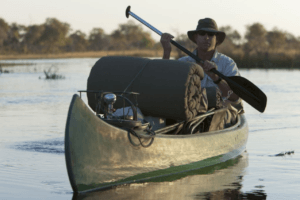 selinda spillway canoe with camping gear