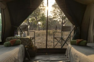 camp chitake mana pools bed view