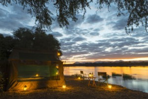 camp zambezi mana pools tent view night