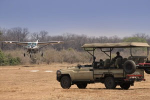 kanga camp mana pools game drive plane