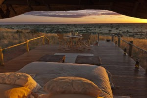 tswalu kalahari sleepout deck sunset