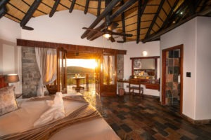 3Etosha Mountain Lodge Bedroom at sunrise