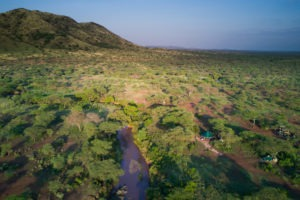 banagi green camp tanzania aerial vast