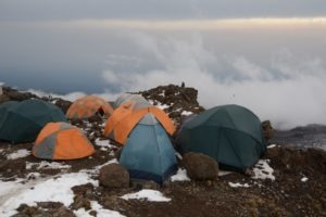 kilimanjaro climbing camp clouds