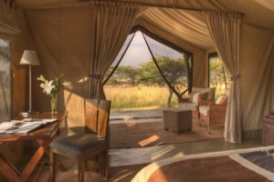 Naboisho Camp guest tent interior view out 4