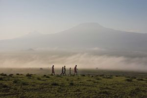 Tortilis Camp activities bush walk with the backdrop of Mt Kilimanjaro 2