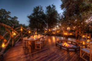 botswana okavango delta camp moremi dining evening