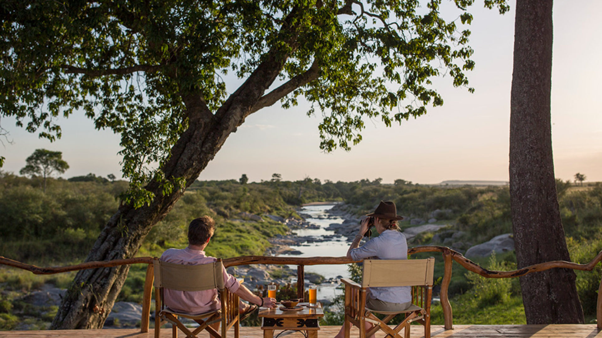 rekero camp guests enjoying views from the deck