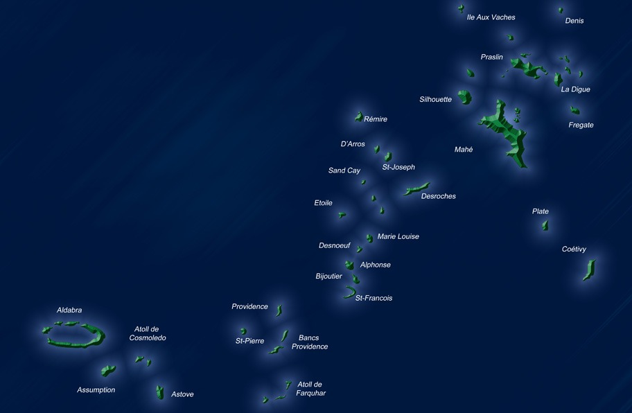 seychelles indian ocean islands map